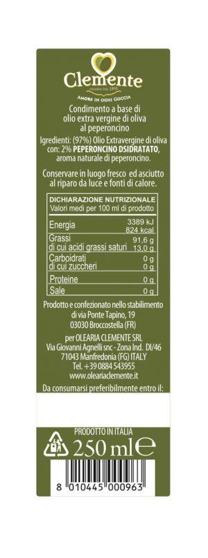 Olio Extravergine 100% Italiano Aromatizzato al Peperoncino - Etichetta Retro