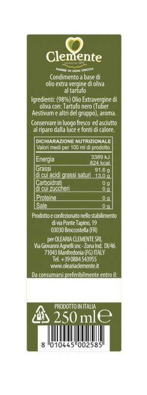 Olio Extravergine 100% Italiano Aromatizzato al Tartufo Nero - Etichetta Retro