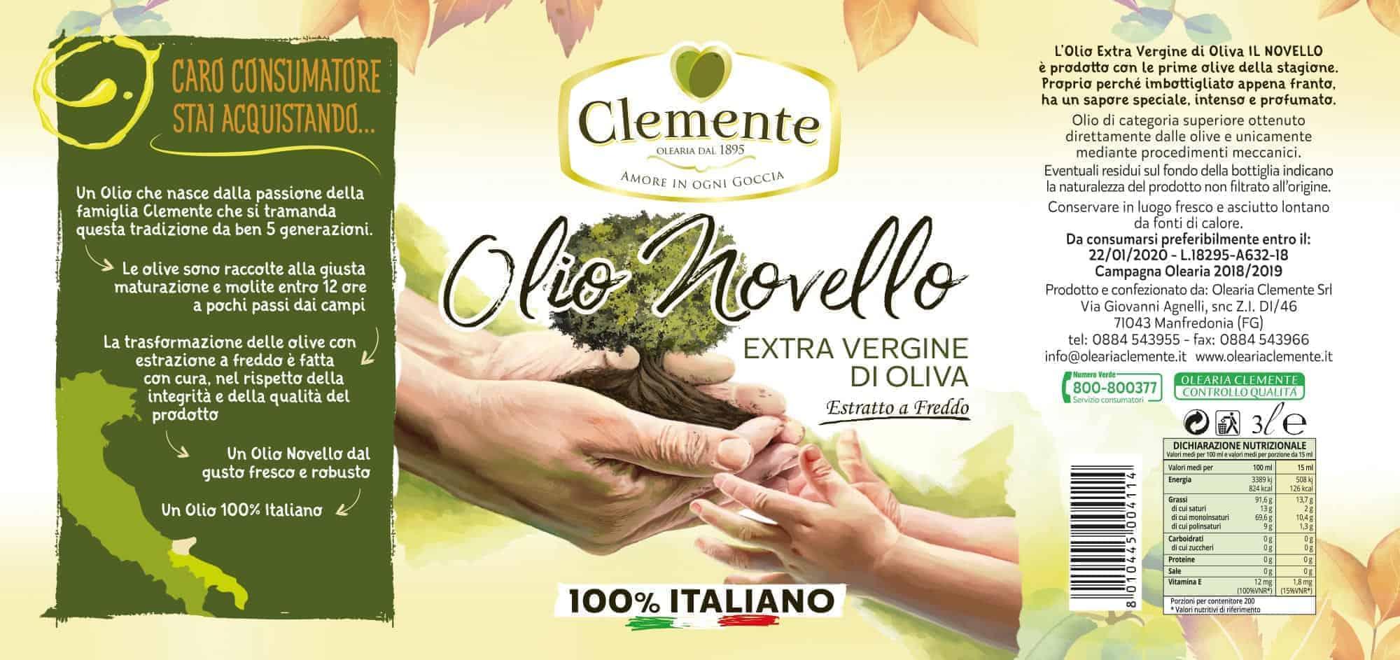 Olio Extravergine 100% Italiano Novello 3 Litri - Etichetta