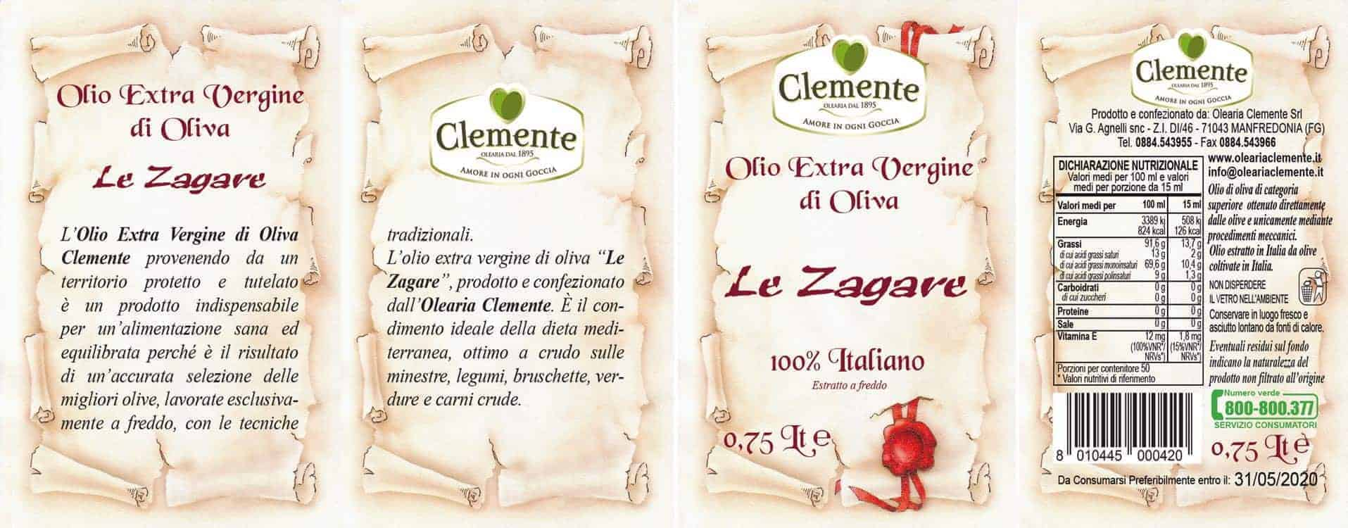 Anfora Le Zagare 100% Italiano 750ml - Etichetta