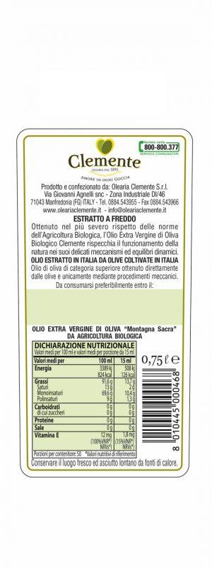 Olio Extravergine 100% Biologico Montagna Sacra 750ml - Etichetta Retro