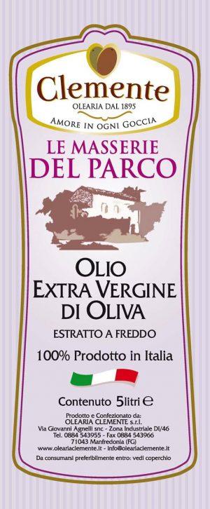 Olio Extravergine 100% Italiano Le Masserie del Parco 5 Litri - Etichetta Fronte