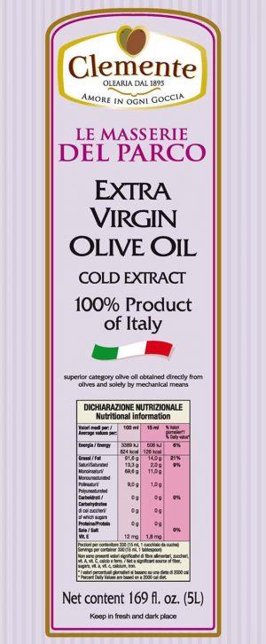 Olio Extravergine 100% Italiano Le Masserie del Parco 5 Litri - Etichetta Retro