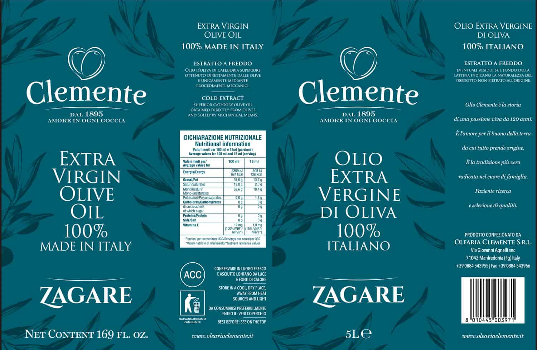 Olio Extravergine 100% Italiano Zagare 5 Litri - Etichetta