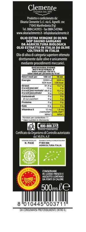 Olio 100% Italiano Bio-DOP Svevia 750ml - Etichetta Retro