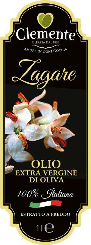Olio Extravergine 100% Italiano - Le Zagare 1 Litro - Etichetta Fronte