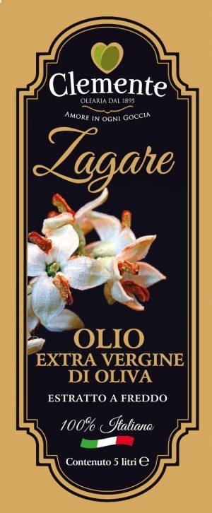 Olio Extravergine 100% Italiano - Le Zagare 5 Litri - Etichetta Fronte