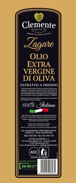 Olio Extravergine 100% Italiano - Le Zagare 5 Litri - Etichetta Retro