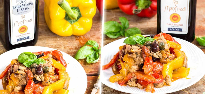 Testata Peperoni con tonno olive e capperi